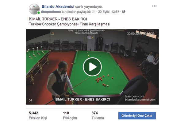 bilardo akademisi canlı yayın youtube facebook